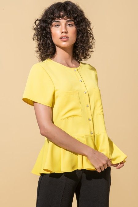Short sleeve blouse with frill