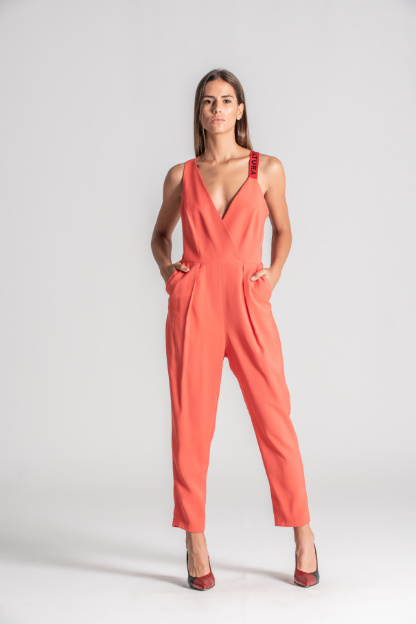 Jumpsuit with crossed straps