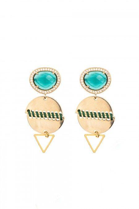 Medium earrings with stone