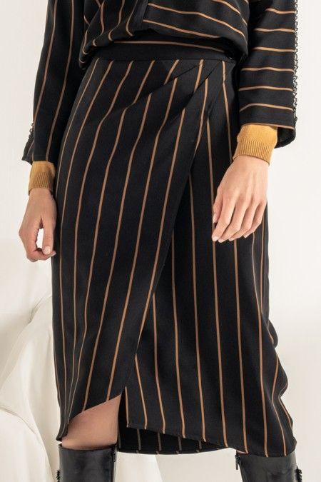 Striped wrapover skirt