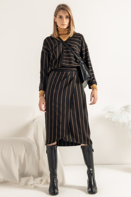 Striped wrapover skirt