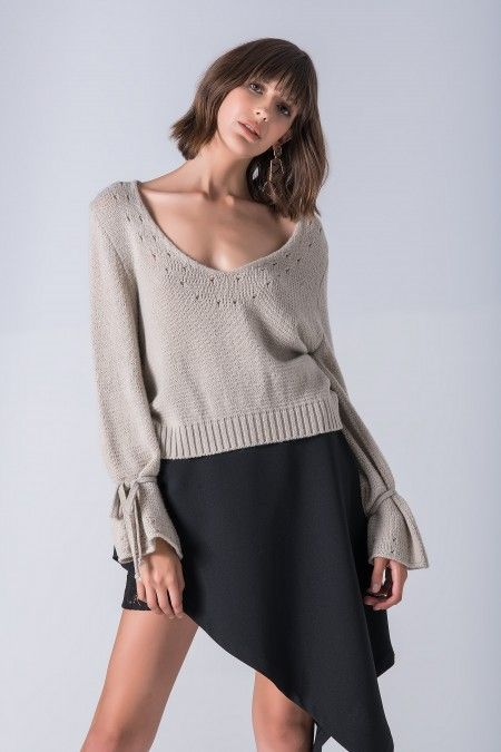 V neckline sweater