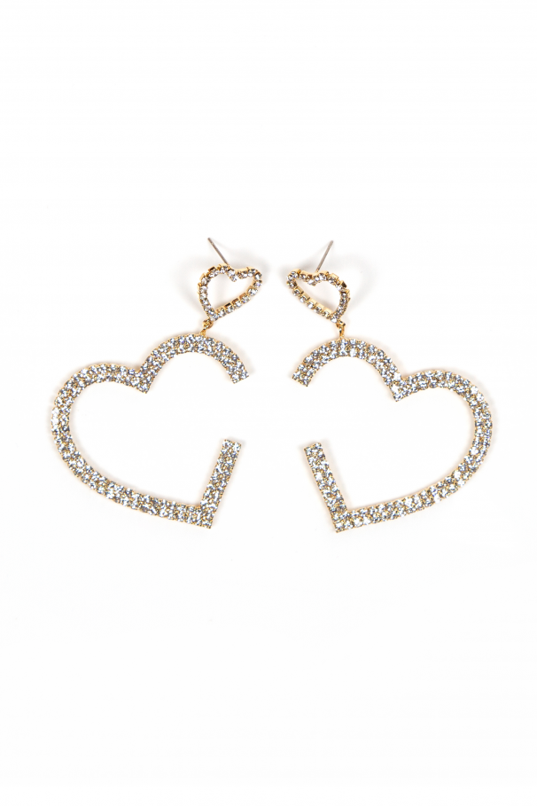Boucles d'oreilles coeur avec cristaux