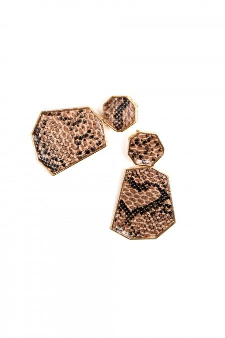 Long snakeskin-patterned earings