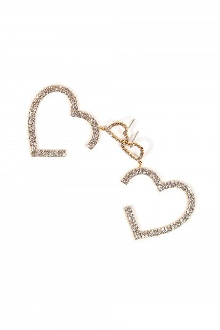 Heart earrings with crystals