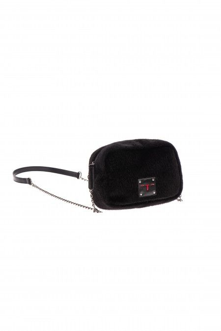 Shoulder bag with faux fur