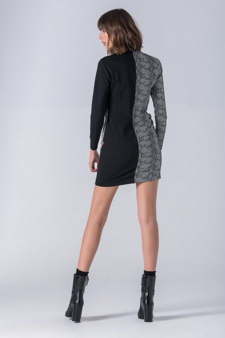 Snakeskin print short dress