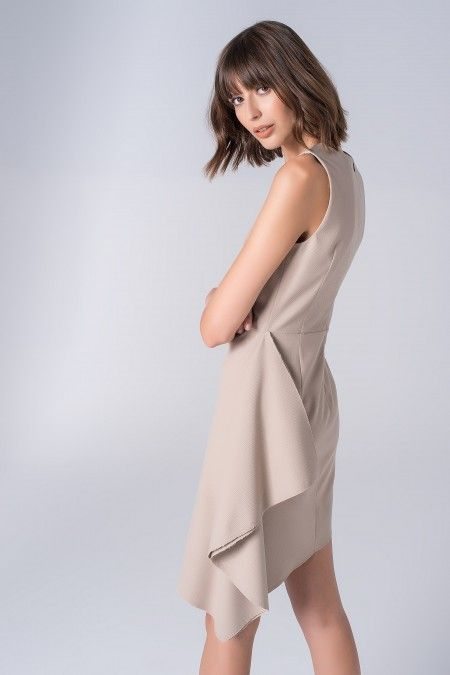 Asymmetrical dress with foil