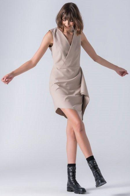 Asymmetrical dress with foil