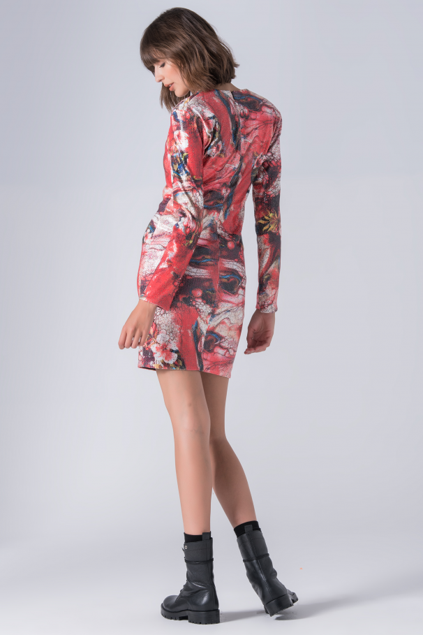 Printed dress with sequins