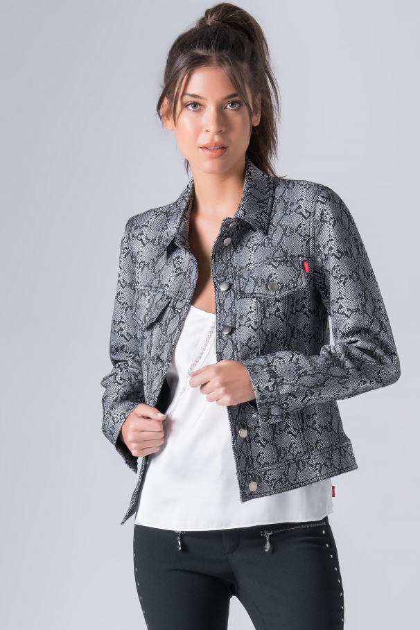Jacket with snakeskin patterned
