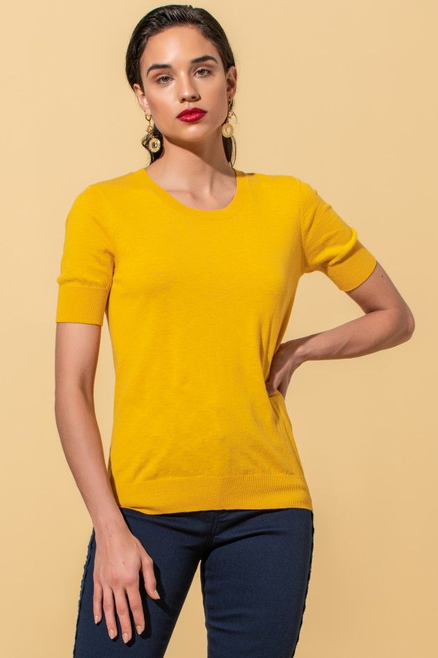 Fine-knit cotton t-shirt