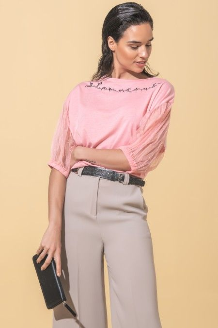 Blouse with balloon sleeves