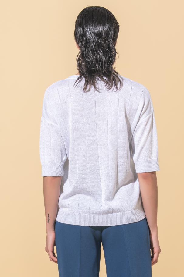 Pull tricoté brillant