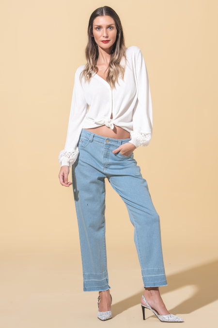 Jeans with unfinished hems