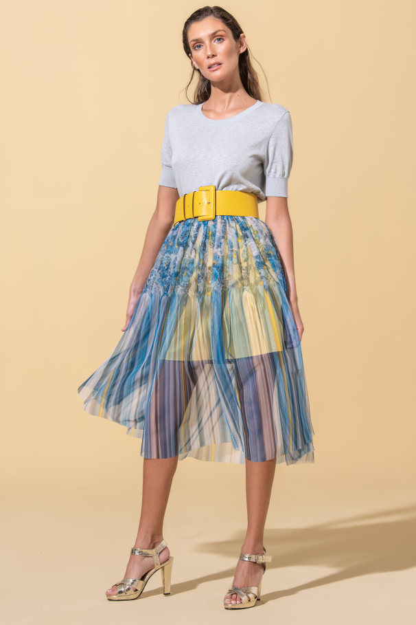 Midi skirt with tulle