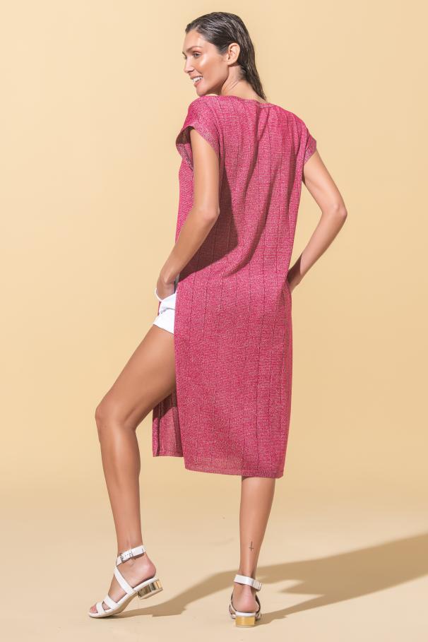 Vestido malha com racha lateral
