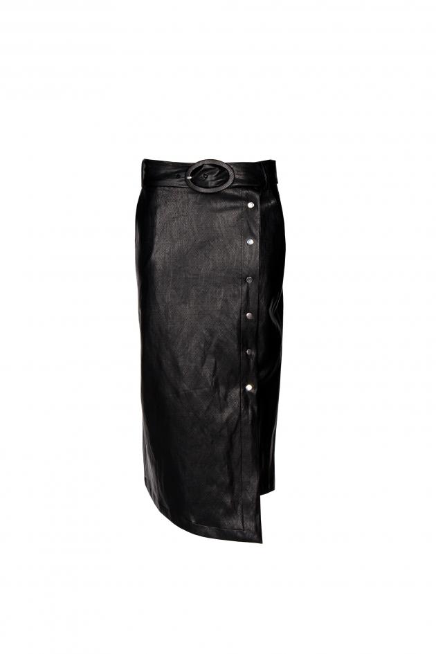 Faux leather asymmetrical midi skirt