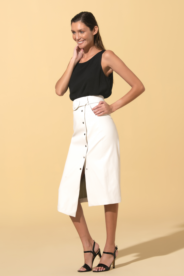 Faux leather asymmetrical midi skirt