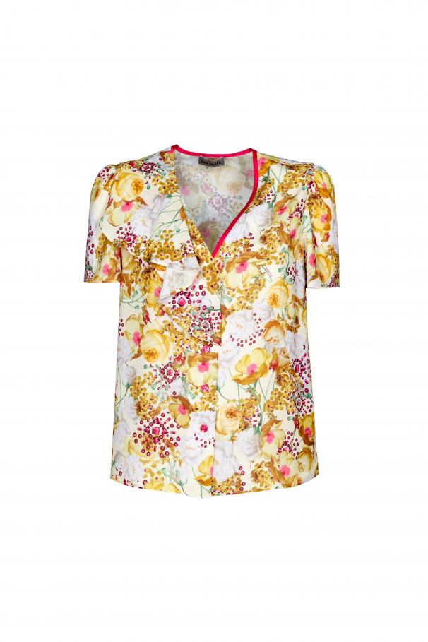 Blusa manga curta com folho