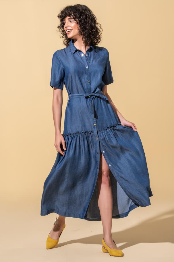 Midi dress with belt