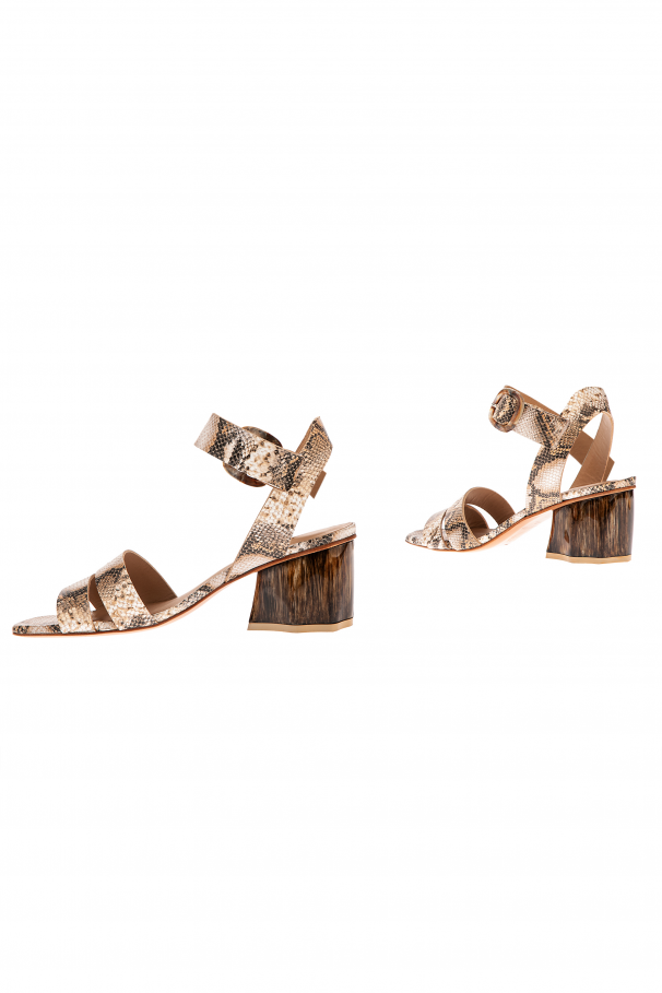 Snake leather effect sandals with heels