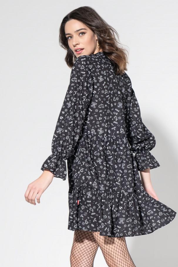 Printed V-neckline dress
