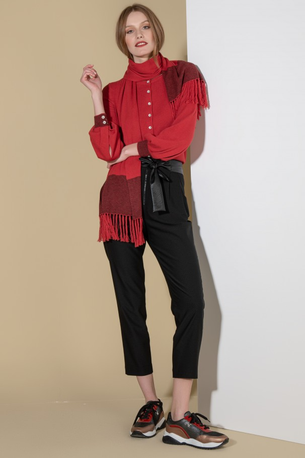 Pants with faux leather belt