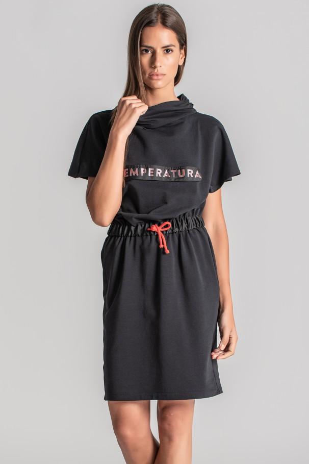 Sweatshirt dress with contrast