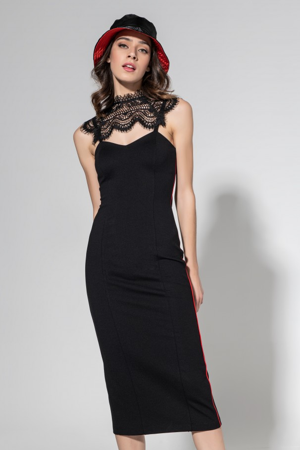 Midi dress with lace detail