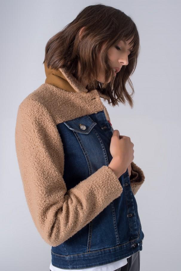 Denim and faux fur jacket