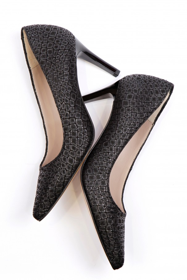 Textured fabric stilettos