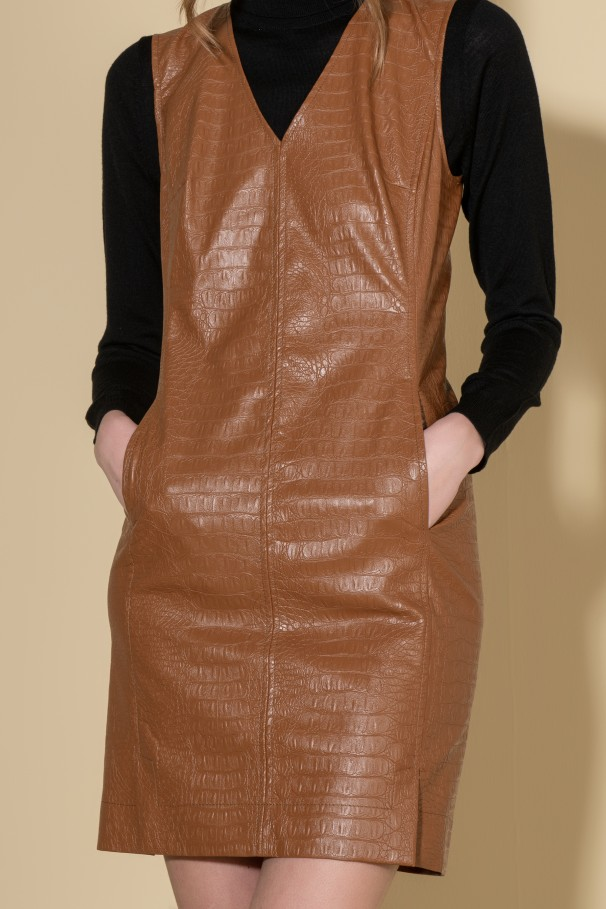 Dress faux leather