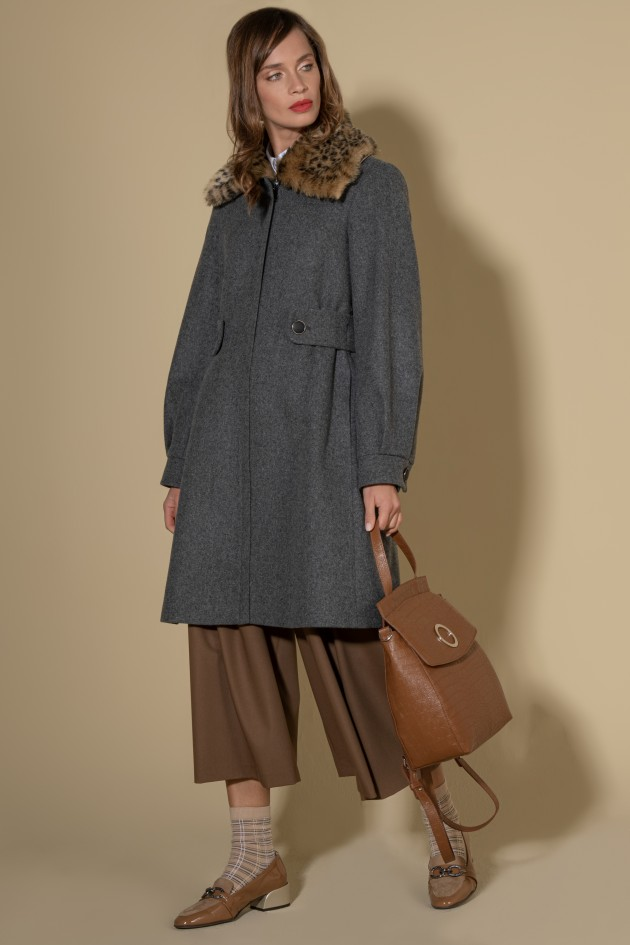 Long coat with faux fur hood