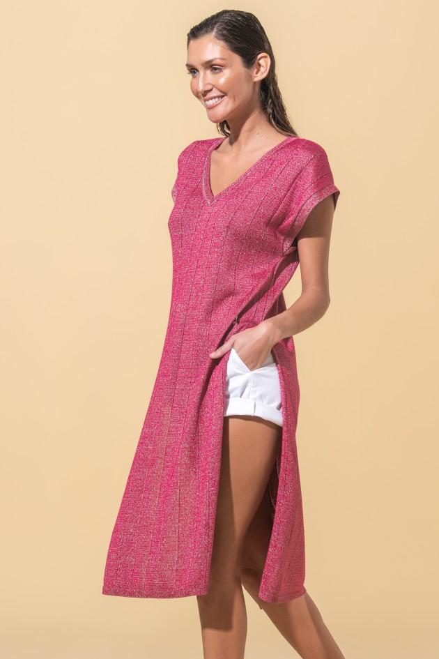 Knit dress with side streak
