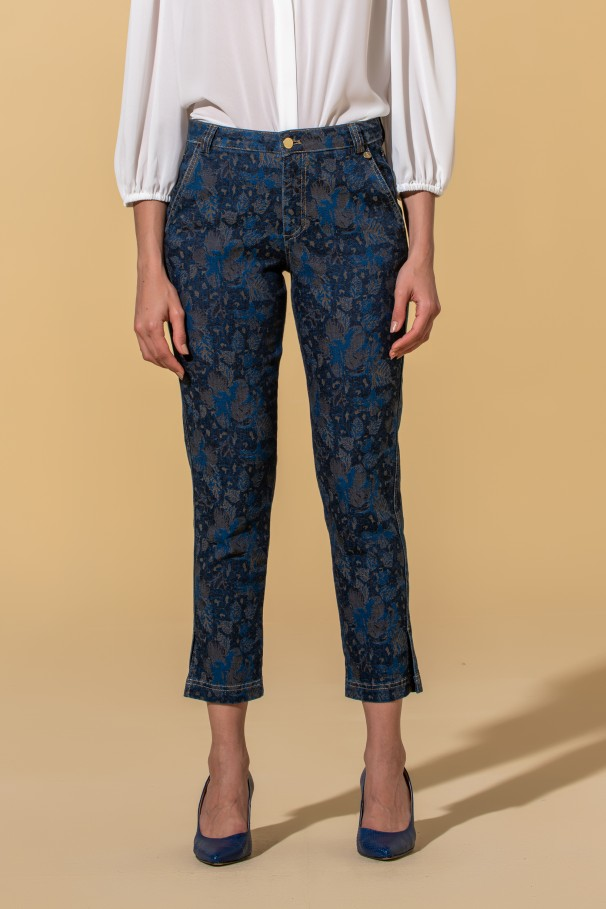Mid rise printed pants