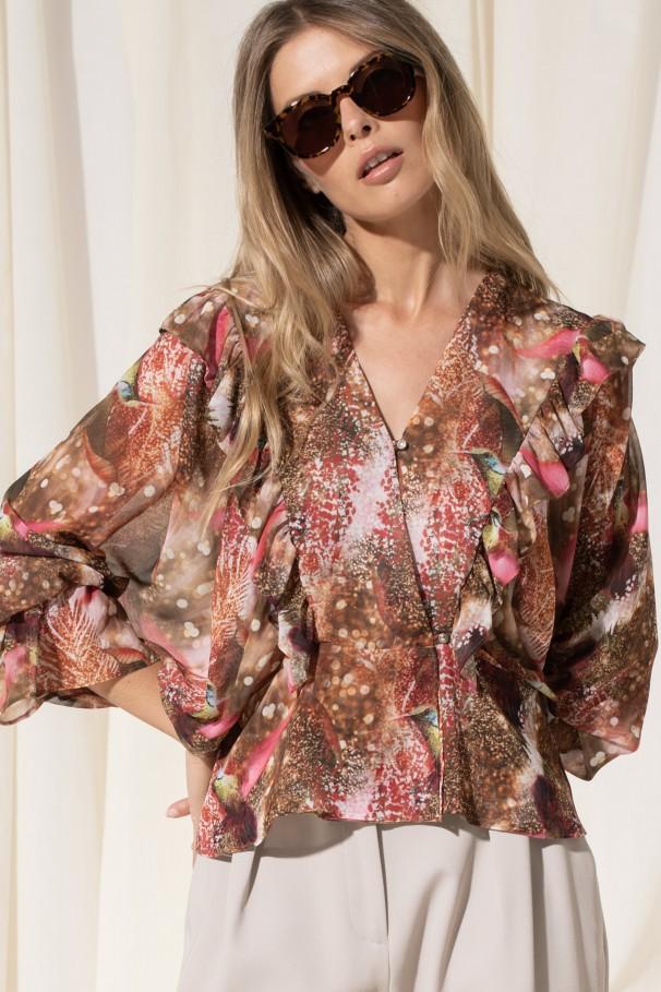 Blusa estampada com folho