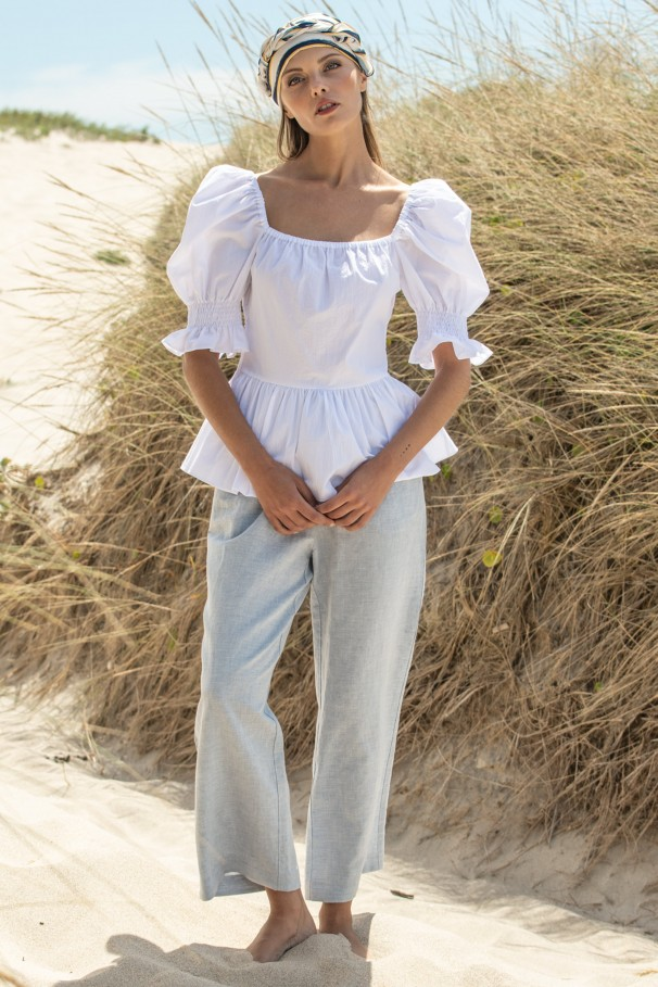 High waist pants with linen