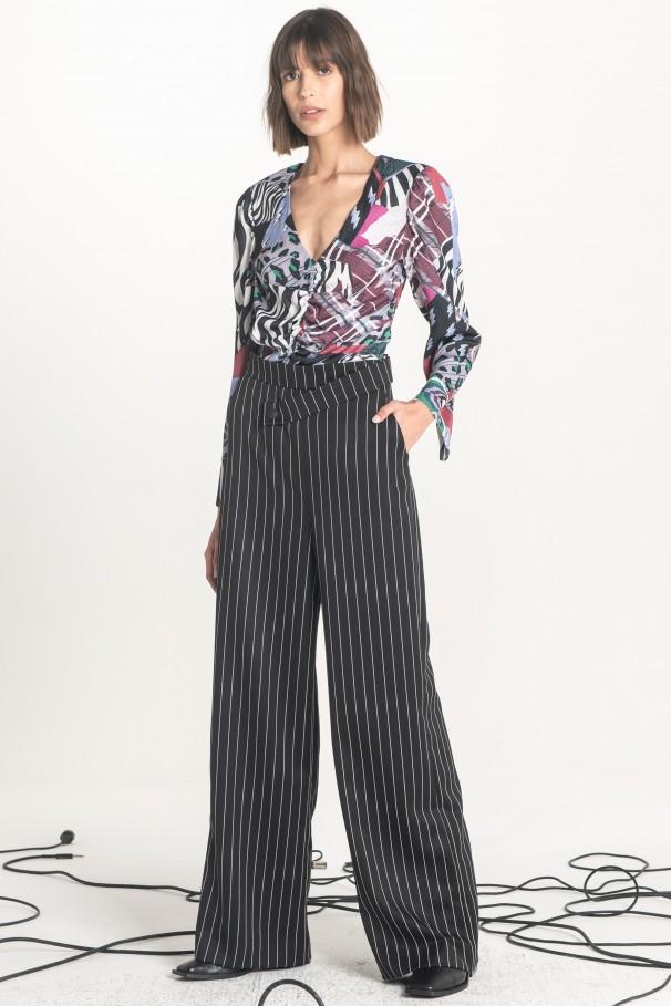 Asymmetric Waistband Wid Leg Trousers
