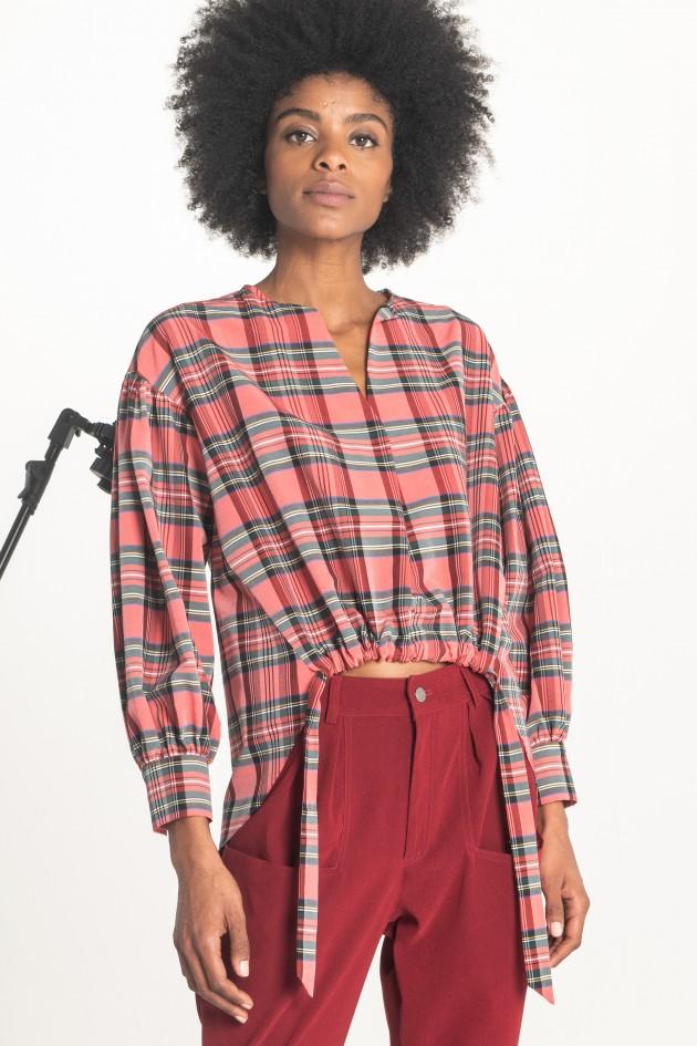 Check printed blouse
