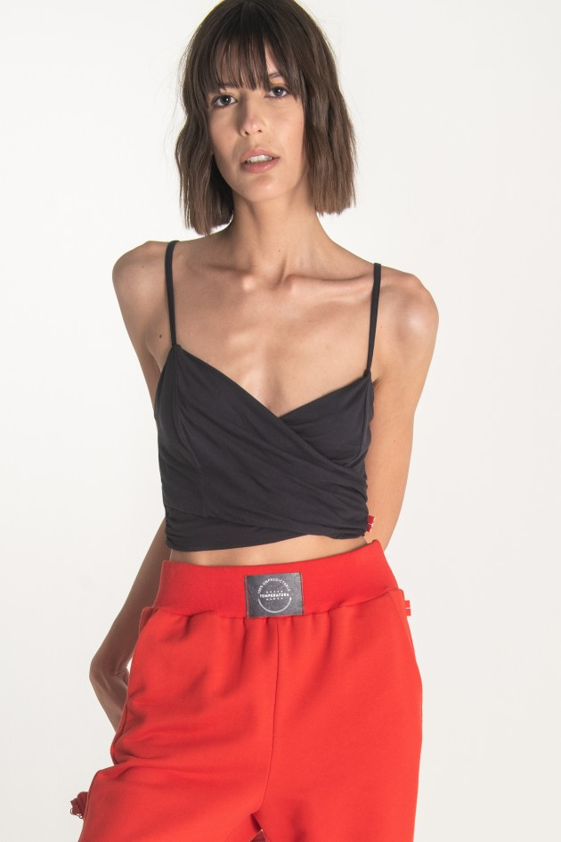 Double-breasted top on neckline