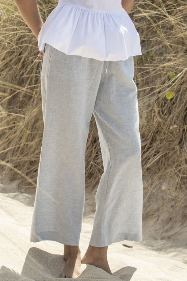 High waist pants with linen