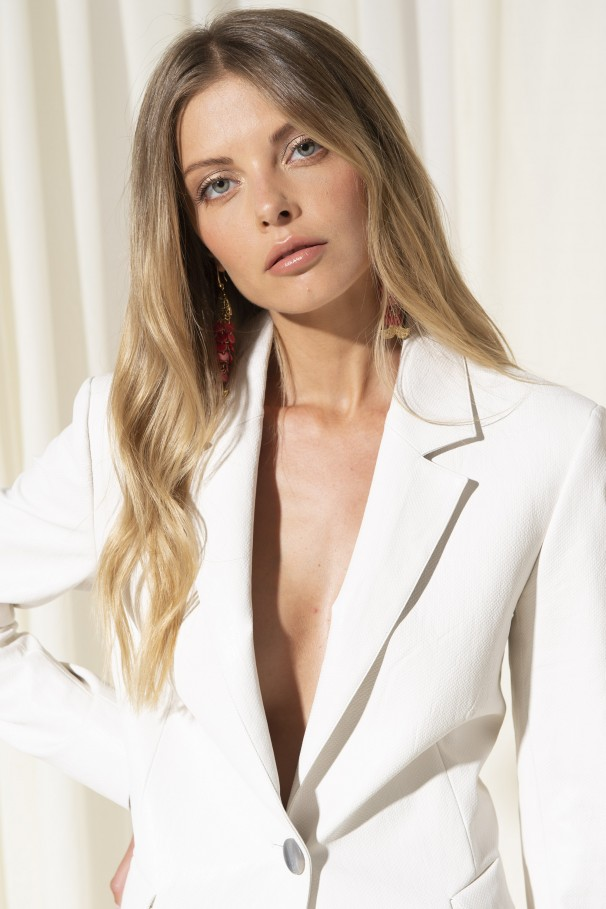 Faux leather single-breasted blazer