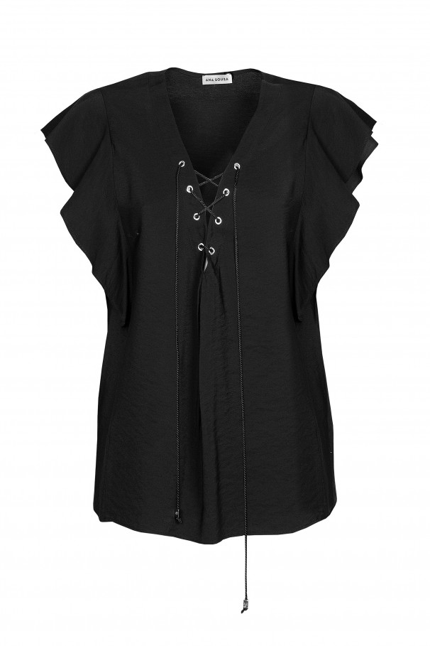 Blouse with cross ties
