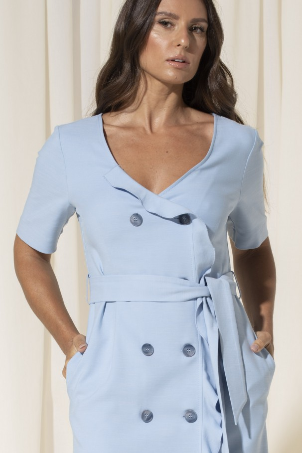 Double-breasted buttoned dress with foil