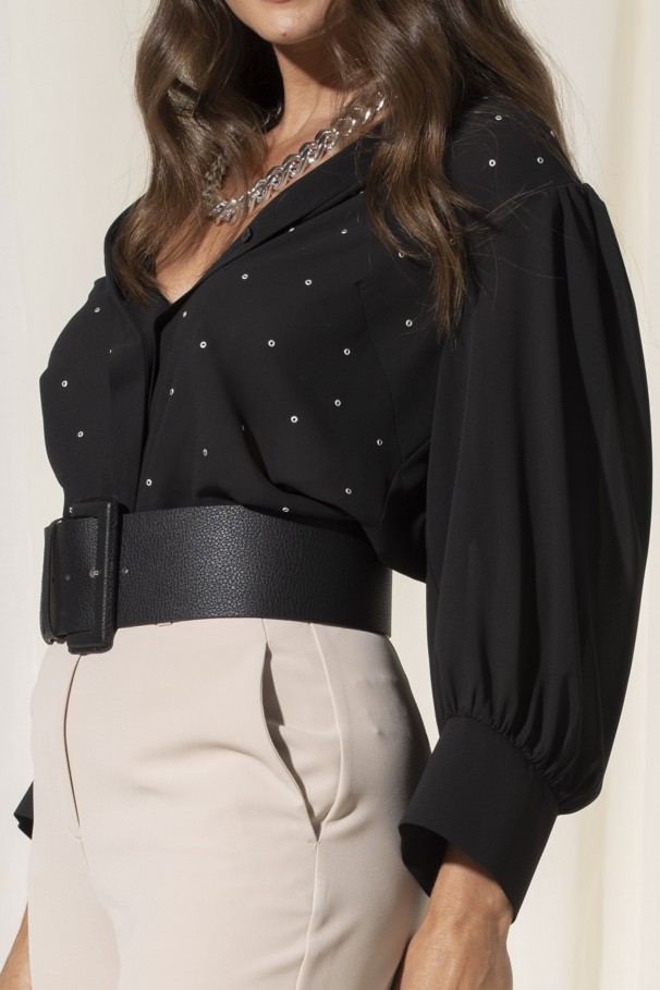 Blouse with eyelets