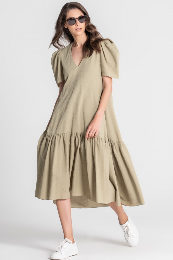 Midi dress with gathered sleeves