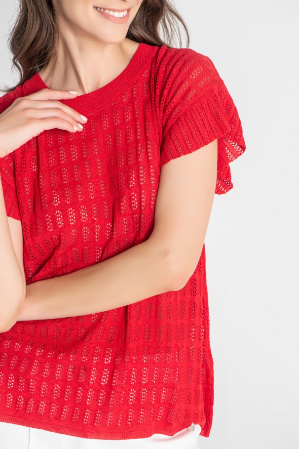 Camisola em malha tricotada