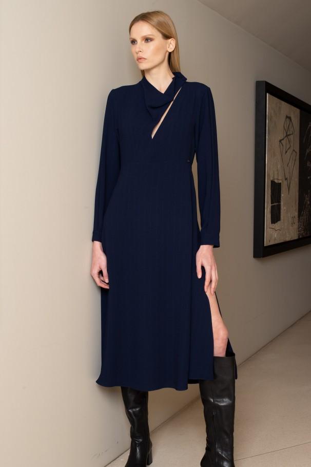 Midi dress with asymmetric neckline