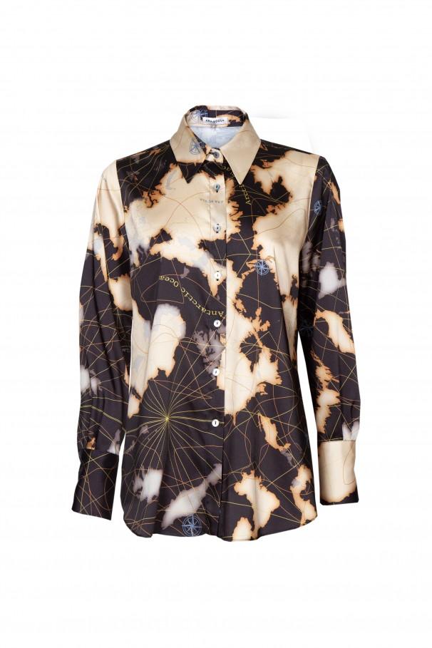 Draped printed shirt